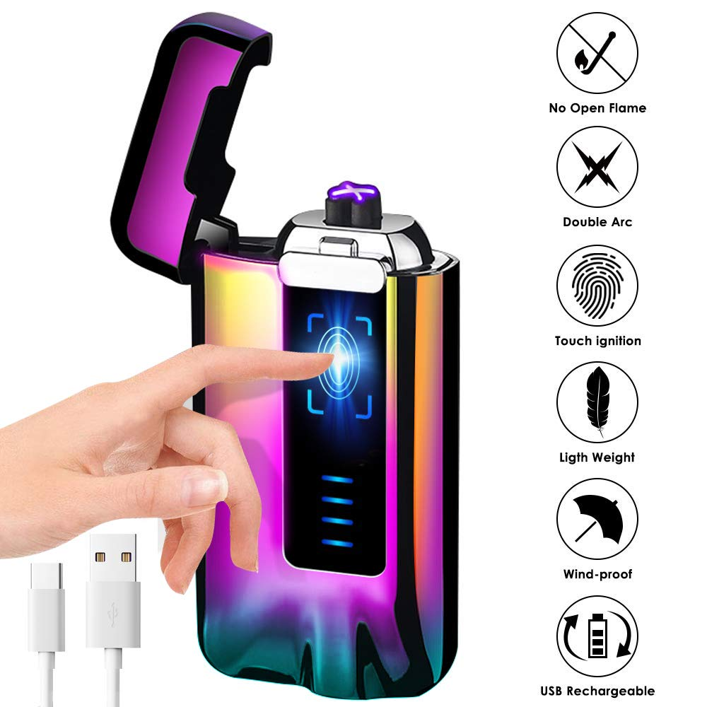 Електрическа плазмена запалка на ток за подарък пури лула електронна волтова дъга 7